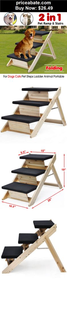 Animals-Dog: Portable Folding 2-in-1 Animal Pet Ramp & Stairs for Dogs Cats Pet Steps Ladder - BUY IT NOW ONLY $26.49