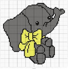 Elaphantastic. Found this cross stitch pattern right here on pinterest. After playing with it for a while I have made it into a graph for crochet. crochet baby elephant.