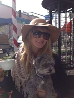 """Clippers """"TweetHeart"""" Madelyn Burke and her pup ROFL Lola having a Latte in Santa Monica"""