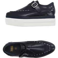 Ash Loafer (1.615 ARS) ❤ liked on Polyvore featuring shoes, loafers, dark blue, buckle loafers, buckle shoes, studs shoes, rubber sole wedge shoes and studded loafers