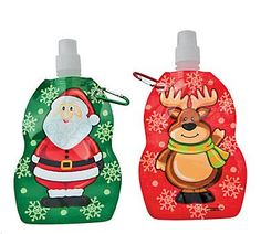 Santa & Reindeer Water Bottle (1).  Stay hydrated with these festive Christmas themed Santa & Reindeer Water Bottles. Each water bottle includes a metal clasp so you can easily hook it on to your backpack or bike and go!  Each Christmas water bottle includes a plastic lid and is perfect for holiday gifts or giveaways this Christmas, 'Christmas in July' or at your winter wonderland party!  Plastic 12.7 cm x  22.9 cm with a 5.08cm metal clasp  Price is per (1) bottle; assorted designs