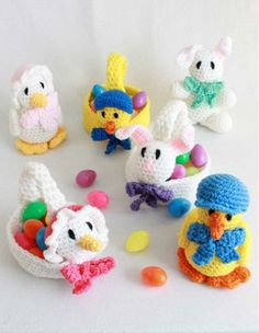 """Watch Easter Baskets and Toys Crochet Patterns Review! Design By: Donna Harelik Skill Leve: Easy Size: Basket Base = 6"""" Materials: Worsted Weight Yarn: Goose Basket: White (MC) – 4 oz, 264 yds; small"""