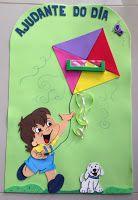 Painel Ajudante do Dia em EVA, para decoração de sala de aula.