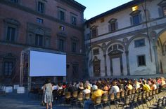 Free outdoor cinema in a Piazza in Florence, Italy a couple of blocks from the Duomo.