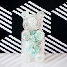 Pop Art inspired gummi bear that is iridescent and clear. Makes fun shelf art or children's home decor. Gummy Bears, Kids House, Iridescent, Pop Art, Shelf, Vase, Inspired, Fun, Home Decor