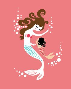 """11X14"""" mermaid mother & baby daughter giclee print on fine art paper. adoption. coral pink, teal blue, brunette, asian. on Etsy, $25.00"""