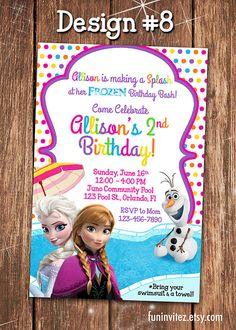 Frozen - CUSTOM Anna Elsa Olaf Summer Pool Swim Birthday Party Girl Photo Invitations - Printable on Etsy, $ 10.99