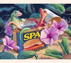 "In this gecko art by fantasy artist Tom ""Thor"" Thordarson, two geckos unwind in a discarded spam can filled with warm Hawaiian rainwater."