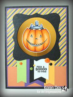 Art Impressions Rubber Stamps: Ai Spinners: Pumpkin Spinner (Sku #4676) and matching Pumpkin Die (Sku #4695) ... handmade Halloween card.  Pumpkin, Jack-o-lantern, black cat, boo, interactive
