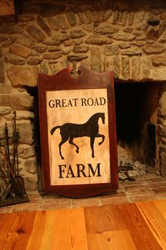 Great Road Farm; horse, equestrian sign, Walker's Colonial American Sign Company; colonialamericansigncompany.com - Vintage sign, tavern sign, antique sign, vintage, American, colonial American, reproduction, tavern, circa 1820, museum quality, colonial American sign company, lions eagles bulls, early American