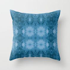 Pseudo Pompous Baroque - Aqua Blue Filigree Tribute Throw Pillow by Pseudo Pompous  - $20.00
