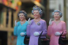 Queen trinkets in a shop window in UK