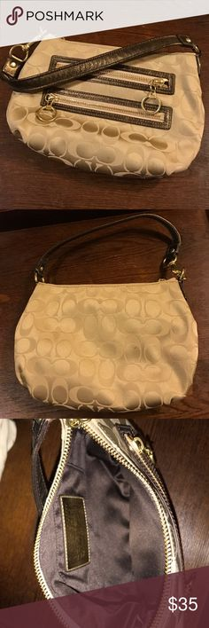 Coach poppy Demi bag Like new cond - cream signature with Ben metallic leather trim - GT hardware. Coach Bags Mini Bags