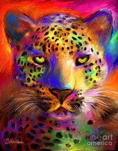 Vibrant Leopard Painting Painting by Svetlana Novikova - Vibrant Leopard Painting Fine Art Prints and Posters for Sale Fractal, Colorful Animals, Foto Art, Arte Pop, Pics Art, Art Plastique, Big Cats, Rainbow Colors, Rainbow Art