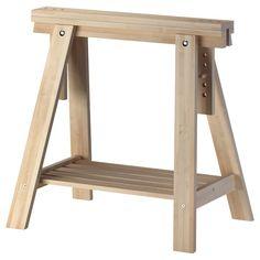 Ikea Finnvard trestle with shelf, birch birch cm similar to Ikea Vika Artur trestle legs Desk Legs, Table Legs, Ikea Solid Wood, Saw Horse Diy, Saw Horse Table, Hack Ikea, Ikea Linnmon, Trestle Table, Trestle Legs