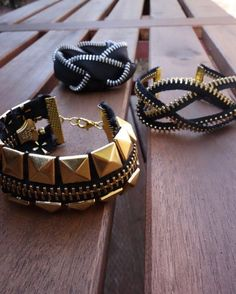 A written tutorial and video on how to make three styles of bracelets out of zippers: studded, knotted, and braided.