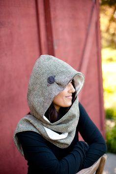 Great idea for something else I can make with the lined tweed fabric piece I have.  Love this!  -- HOODED SCARF SEWiNG PATTERN Hooded Scarf.