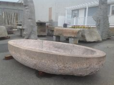 "Historic Stoney Creek granite pool/tub. This granite was quarried over 100 years ago. 6'6"" x 3'3"" oval pool."