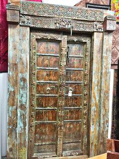 Indian Antique Ganesha Doors Warm Teak Brass Iron Hand Carved Double Door & Frame