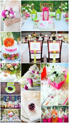 neon and neutrals wedding color theme ideas