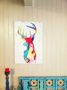 Oh Deer canvas hanging in the home of Wendy.   #urbanroad #canvas #art