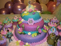 Princess and the frog Cake and cupcakes I made. :)