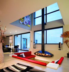 01 Mirrored Glass Fireplace Idea Modern Fireplace Ideas 7  #FarmhouseFireplace