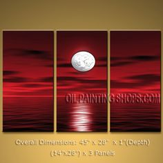 Triptych Contemporary Wall Art Seascape Painting Moon Scene On Canvas. In Stock $145 from OilPaintingShops.com @Bo Yi Gallery/ ops3045