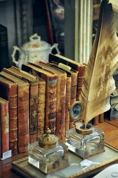 Old Books ... Vintage Inkwell and Quill Ink Pen Someday I will put this in my office!