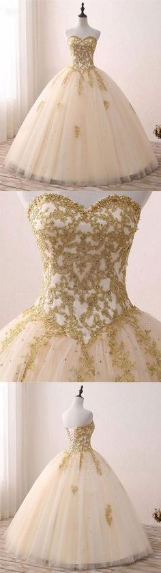 champagne sweetheart neck tulle lace long prom gown, sweet 16 dress