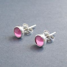 Studs - Sterling Silver and Pink Vintage Swarovski Glass Earrings - 5mm Round