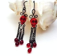 Red Skull Earrings Gothic Black Wire and Chain with Blood Red Teardrop | BrainofJen - Jewelry on ArtFire