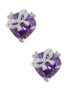 Sterling Silver Diamond Bow Amethyst Heart Ear Pin Stud Earrings - 0.06 ctw