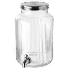 IKEA - VARDAGEN, Jar with tap, Perfect for your garden party or picnic, as the beverage dispenser can be used outdoors. Only for cold drinks. The lid must be slightly opened for the tap to work, since a vacuum builds up in the jar when the lid is closed. Carafe, Cold Drinks, Beverages, Curtain Wire, Cocktail Glassware, Ceiling Materials, Small Shelves, Glass, Canisters