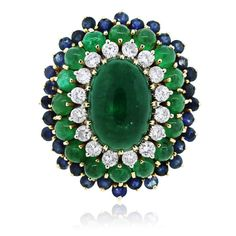 18k Yellow Gold Emerald, Sapphire and Diamond Cocktail Ring