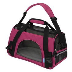 """OxGord® Pet Carrier Soft Sided Cat / Dog Comfort """"FAA Airline Approved"""" Travel Tote Bag - 2015 Newly Designed, Small, Juicy Hot Pink OxGord http://www.amazon.com/dp/B00KALX7B8/ref=cm_sw_r_pi_dp_mWNEvb03ZV2YF"""