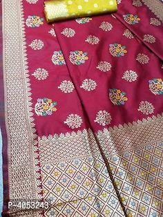 Multicoloured Silk Blend Saree with Blouse piece Silk Saree Banarasi, Designer Silk Sarees, Best Budget, Jacquard Weave, Floral Motif, Types Of Fashion Styles, Trendy Fashion, Weaving, Quilts