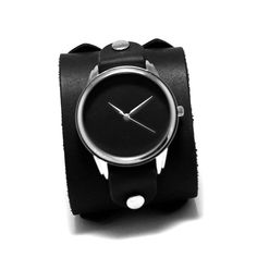PrideAndBright minimalist matte black cuff watches with Johny Depp double buckle band Leather Buckle, Calf Leather, Johny Depp, Black Leather Watch, Leather Wristbands, Unisex Gifts, Retro Stil, Cuff Watches, Matte Black