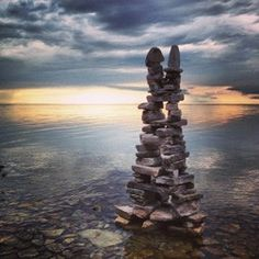 Kate Borcherding recently created this stone cairn as a part of her Memory Diaries Art Project at Door Bluff Headlands County Park near Ellison Bay. Photo by Sally Slattery.