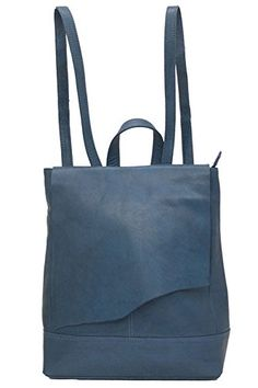 Ili 6501 Leather Raw Edge Backpack Handbag Jeans Blue