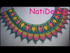 COLLAR FLOR Y CORAZON - PARTE 2 - YouTube Beading Patterns Free, Beaded Jewelry Patterns, Beaded Lace, Beaded Embroidery, Crochet Curtains, Necklace Tutorial, Beading Projects, Necklace Designs, Bead Weaving