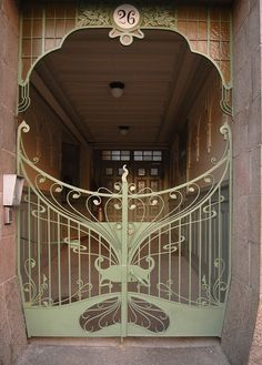 beautiful art nouveau gate, gothenburg, sweden