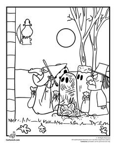 It's the Great Pumpkin Charlie Brown Coloring Pages Peanuts Gang Trick or Treating Coloring Page – Cartoon Jr.
