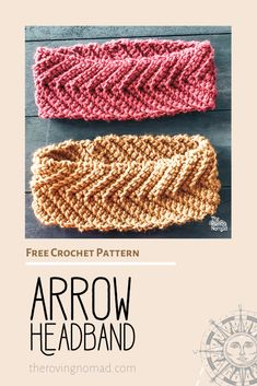 Arrow Headband - Crochet Pattern - The Roving Nomad The simple design works up quickly and has wonderful detail using a simple single crochet stitch. Crochet Patterns For Beginners, Easy Crochet Patterns, Crochet Stitches, Free Crochet, Crochet Hats, Crochet Cardigan, Crochet Clothes, Crochet Ideas, Crochet Ear Warmer Pattern