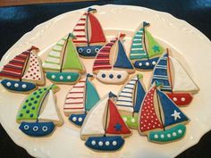 Sailboats cookies. I made these for my daughter's annual lake trip with a sailor theme. They were easy and good! B