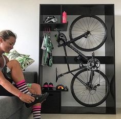 Kayak Storage Ceiling Cool indoor bike rack and storage - Road Bike - Ideas of Road Bike Bike Storage Room, Indoor Bike Storage, Indoor Bike Rack, Bicycle Storage, Bicycle Rack, Garage Storage, Bike Storage Cupboard, Diy Bike Rack, Sock Storage