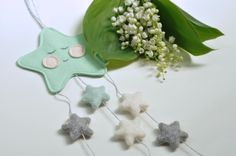 Mint little star baby mobile by HoneybearcraftsShop on Etsy