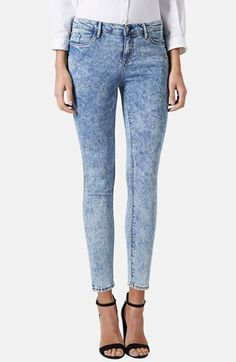 Topshop Moto 'Leigh' Acid Wash Skinny Jeans (Light Denim) (Petite) available at #Nordstrom