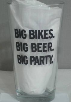 Harley Davidson Motorcycles Beer Glass Big Bikes, Big Beer, Big Party - Miller Brand, TheWildJanii.com