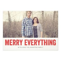 Red Merry Everything Christmas Photo Flat Cards | Visit the Zazzle Site for More: http://www.zazzle.com/?rf=238228028496470081